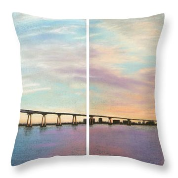 Coronado Bridge Sunset Diptych Throw Pillow