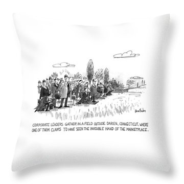 Corporate Leaders Gather In A Field Throw Pillow