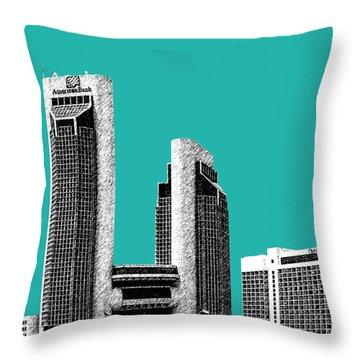 Corpus Christi Skyline - Teal Throw Pillow by DB Artist