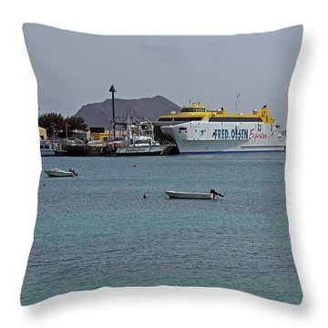 Corralejo Harbour Throw Pillow