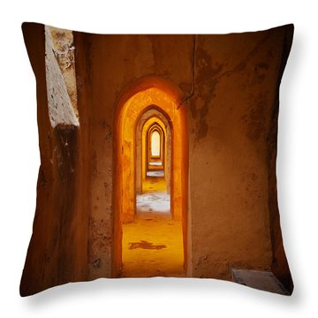 Corridor In The Real Alcazar Of Seville Throw Pillow