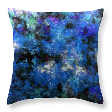 Corrosion Bleue Throw Pillow by RochVanh