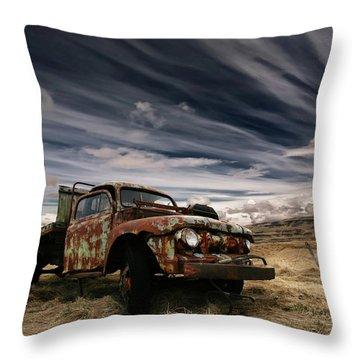 Rusty Old Car Throw Pillows