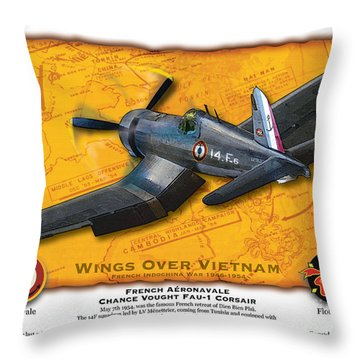 Throw Pillow featuring the photograph Corsair  Over Indochina by Kenneth De Tore