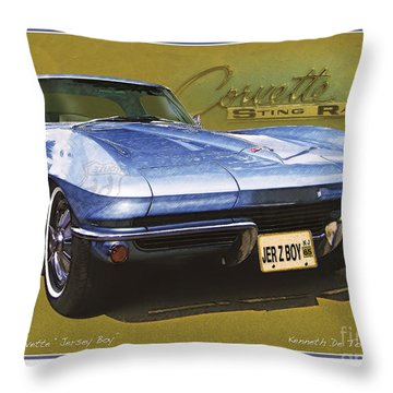 Corvette 1965 Throw Pillow by Kenneth De Tore