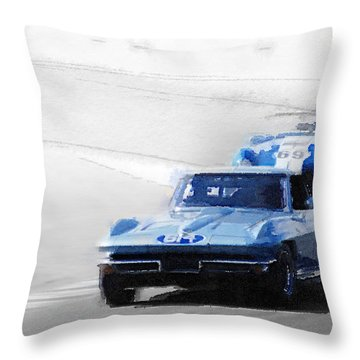 Corvette And Ac Cobra Shelby Watercolor Throw Pillow