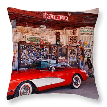 Corvette Drive Rt 66 Throw Pillow
