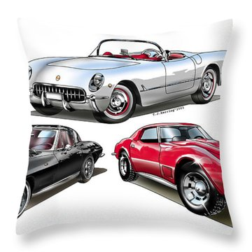Corvette Generation Throw Pillow