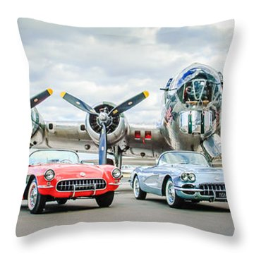 Corvettes With B17 Bomber Throw Pillow