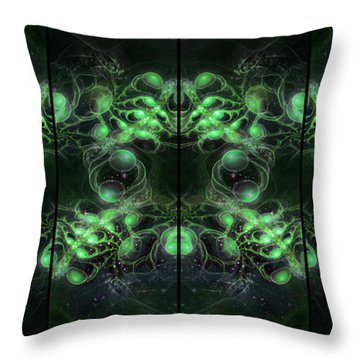 Cosmic Alien Eyes Green Throw Pillow