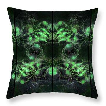 Cosmic Alien Eyes Green Throw Pillow