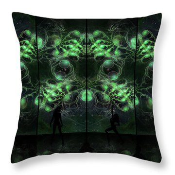 Cosmic Alien Vixens Green Throw Pillow by Shawn Dall