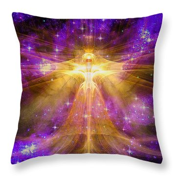 Throw Pillow featuring the digital art Cosmic Angel by Shawn Dall