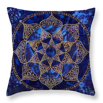 Cosmic Blue Lotus Throw Pillow by Charlotte Backman