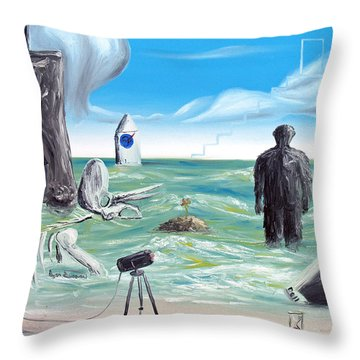 Throw Pillow featuring the painting Cosmic Broadcast -last Transmission- by Ryan Demaree