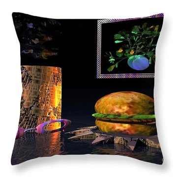 Throw Pillow featuring the digital art Cosmic Burger by Jacqueline Lloyd