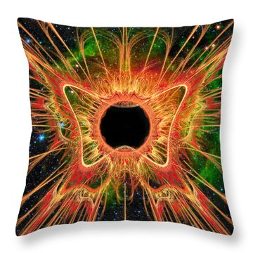 Throw Pillow featuring the digital art Cosmic Butterfly Phoenix by Shawn Dall
