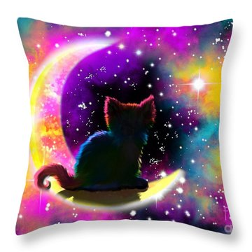Cosmic Cat Throw Pillow by Nick Gustafson