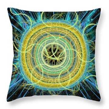 Throw Pillow featuring the digital art Cosmic Circle Fusion by Shawn Dall
