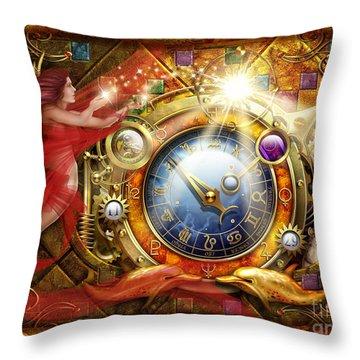 Cosmic Clock Throw Pillow by Ciro Marchetti