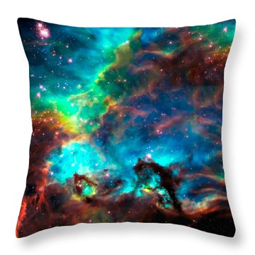 Cosmic Cradle 2 Star Cluster Ngc 2074 Throw Pillow by Jennifer Rondinelli Reilly - Fine Art Photography