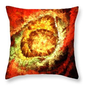 Cosmic Flares Throw Pillow by Lourry Legarde