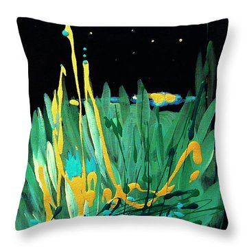 Throw Pillow featuring the painting Cosmic Island by Holly Carmichael