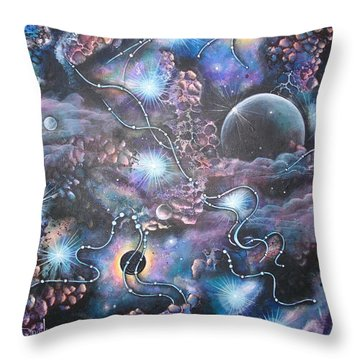 Cosmic Landscape Throw Pillow by Krystyna Spink