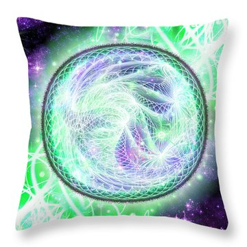 Throw Pillow featuring the digital art Cosmic Lifestream by Shawn Dall