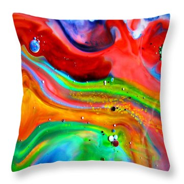 Throw Pillow featuring the painting Cosmic Lights by Joyce Dickens