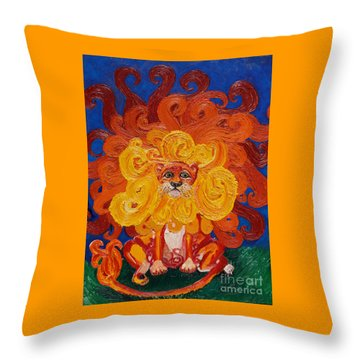 Cosmic Lion Throw Pillow