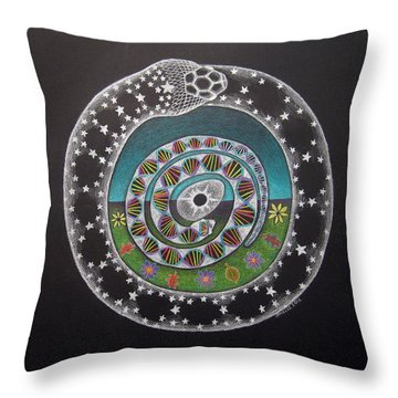 Cosmic Serpent Color Throw Pillow