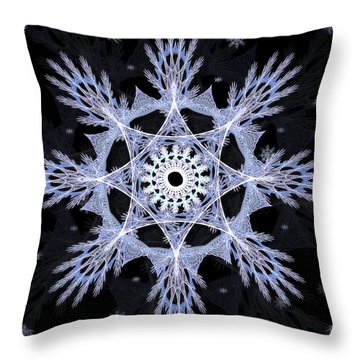 Throw Pillow featuring the digital art Cosmic Snowflakes by Shawn Dall