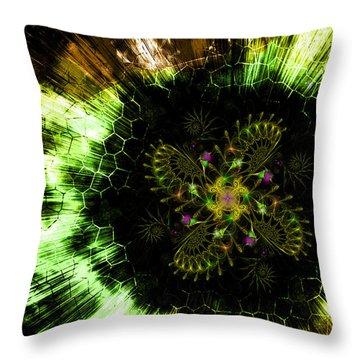 Cosmic Solar Flower Fern Flare Throw Pillow by Shawn Dall