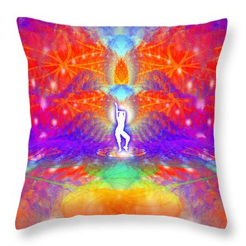 Throw Pillow featuring the digital art Cosmic Spiral Ascension 53 by Derek Gedney