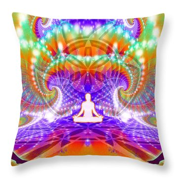 Throw Pillow featuring the digital art Cosmic Spiral Ascension 60 by Derek Gedney