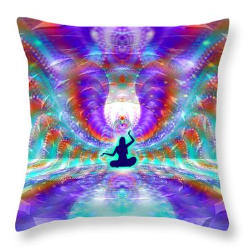 Throw Pillow featuring the digital art Cosmic Spiral Ascension 71 by Derek Gedney
