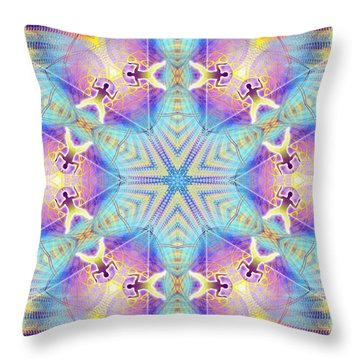 Cosmic Spiral Kaleidoscope 17 Throw Pillow by Derek Gedney