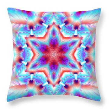 Cosmic Spiral Kaleidoscope 45 Throw Pillow by Derek Gedney