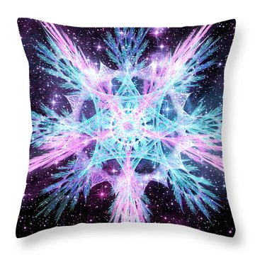 Throw Pillow featuring the digital art Cosmic Starflower by Shawn Dall