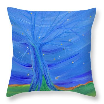 Throw Pillow featuring the painting Cosmic Tree by First Star Art