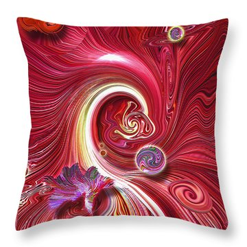 Cosmic Waves Throw Pillow by Carl Hunter