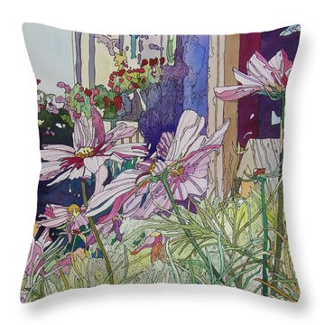 Cosmos At The Coffee Shoppe Throw Pillow