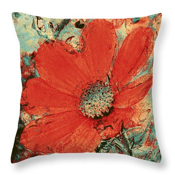 Cosmos Flower Colorized Halftone Throw Pillow