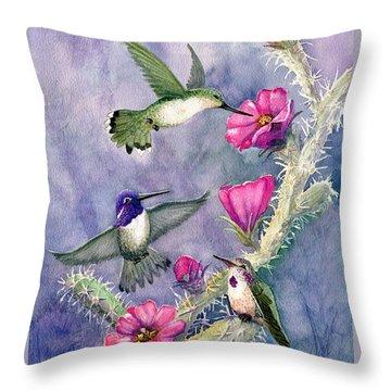 Costa Hummingbird Family Throw Pillow