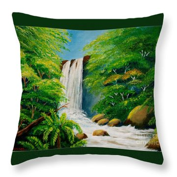 Costa Rica Waterfall Throw Pillow