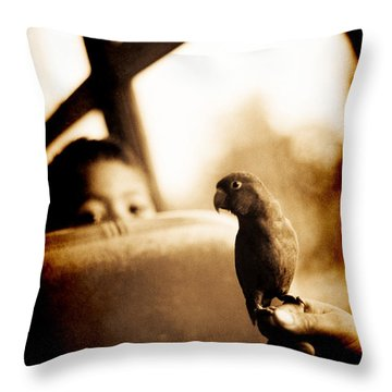 Costa Rican Bird Boy Throw Pillow