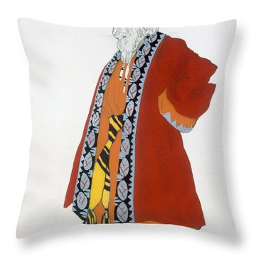 Costume Design For An Old Man In A Red Throw Pillow