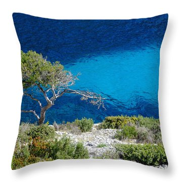 Pine Trees At Azure Waters Throw Pillow