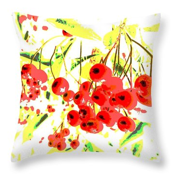 Throw Pillow featuring the photograph Cotoneaster by Barbara Moignard